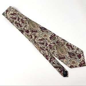 CHRISTIAN DIOR Silk Red Paisley Neck Tie